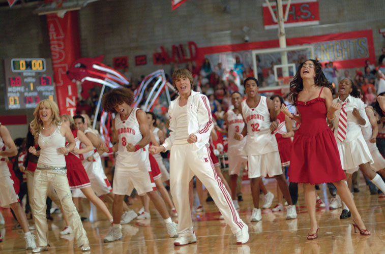MELLS LIKE SCHOOL SPIRIT: Director Kenny Ortega's young cast strike a pose in a scene from High School Musical. Photo courtesy of the Disney Channe